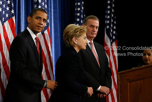 Chicago, IL - December 1, 2008 -- United States President-elect Barack Obama introduces United States Senator Hillary Rodham Clinton (Democrat of New York),middle, as his nominee for Secretary of State.  Obama also introduced James L. Jones, right, chosen as national security advisor, and Susan Rice, far right, chosen as United Nations ambassador, Monday morning, December 1, 2008 at the Chicago Hilton & Towers in Chicago, Illinois..Credit: Anne Ryan - Pool via CNP