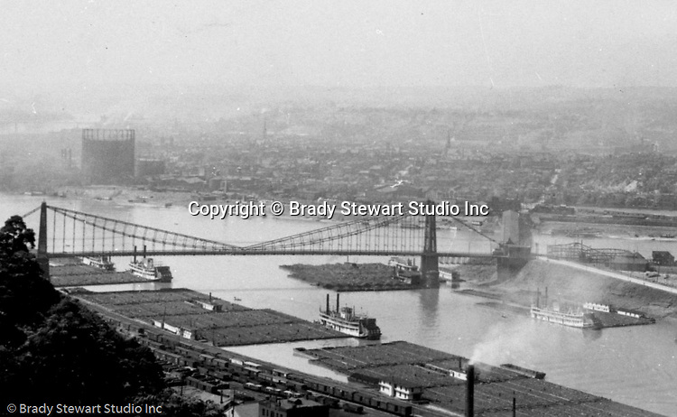 Pittsburgh PA - View of the Point Bridge and coal barges lined up on the south side of the Monogahela River - taken from Mount Washington - 1905.