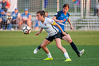 Kansas City, MO - Sunday September 3, 2017: Kelley O'Hara, Becca Moros during a regular season National Women's Soccer League (NWSL) match between FC Kansas City and Sky Blue FC at Children's Mercy Victory Field.