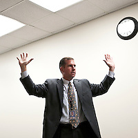 Supervisory Special Agent Richard Schott demonstrates a non-threatening surrender gesture during an explanation of the FBI's lethal force policy at the FBI National Academy in Quantico, VA, USA, 12 May 2009.