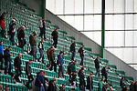 Home supporters making their way from the East Stand at Easter Road stadium at the conclusion of the Scottish Championship match between Hibernian and visitors Alloa Athletic. The home team won the game by 3-0, watched by a crowd of 7,774. It was the Edinburgh club's second season in the second tier of Scottish football following their relegation from the Premiership in 2013-14.