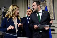 Roma, 12 Aprile 2018<br />  Giorgia Meloni, Matteo Salvini,Silvio Berlusconi.<br /> Secondo giro di Consultazioni per la formazione del Governo