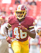 Washington Redskins running back Alfred Morris (46) participates in drills prior to the game against the Miami Dolphins at FedEx Field in Landover, Maryland on September 13, 2015.<br /> Credit: Ron Sachs / CNP