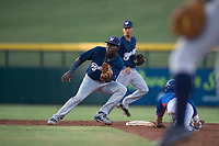 AZL Brewers second baseman Edwin Sano (8) covers second base on a stolen base attempt by Levi Jordan (4) during an Arizona League game against the AZL Cubs 1 at Sloan Park on June 29, 2018 in Mesa, Arizona. The AZL Cubs 1 defeated the AZL Brewers 7-1. (Zachary Lucy/Four Seam Images)