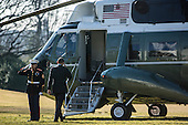 United States President Barack Obama salutes the Marine Guard as he boards Marine One on the South Lawn of the White House to travel to Decatur, Georgia, on Thursday, February 14, 2013 in Washington, DC..Credit: Brendan Hoffman / Pool via CNP