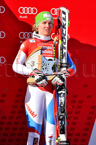13.01.2013. St Anton, Austria.  Ski Alpine FIS World Cup Super G for women Award Ceremony Picture shows Fabienne Suter SUI