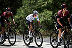 Geraint Thomas (WAL) and White Jersey Egan Bernal (COL) Team Ineos during Stage 16 of the 2019 Tour de France running 177km from Nimes to Nimes, France. 23rd July 2019.<br /> Picture: ASO/Pauline Ballet | Cyclefile<br /> All photos usage must carry mandatory copyright credit (© Cyclefile | ASO/Pauline Ballet)