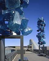 Crystal Towers sculpture on the Chihuly Bridge of Glass frame the Museum of Glass hot shop cone
