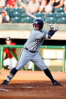 Tyler Neslony (2) of the Mississippi Braves at bat during a game against the Chattanooga Lookouts on August 04, 2018 at AT&T Field in Chattanooga, Tennessee. (Andy Mitchell/Four Seam Images)