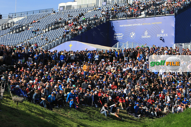 Part of the crowd around the 9th green during Saturday Foursomes at the Ryder Cup, Le Golf National, Ile-de-France, France. 29/09/2018.<br /> Picture Thos Caffrey / Golffile.ie<br /> <br /> All photo usage must carry mandatory copyright credit (© Golffile | Thos Caffrey)