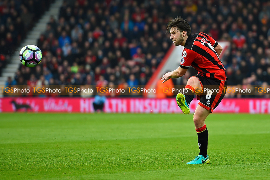 Harry Arter of AFC Bournemouth has a shot on goal during AFC Bournemouth vs West Ham United, Premier League Football at the Vitality Stadium on 11th March 2017