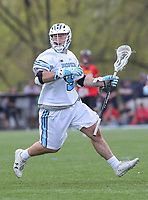 Baltimore, MD - April 28, 2018: Johns Hopkins Blue Jays Matt Hubler (9) in action during game between John Hopkins and Maryland at  Homewood Field in Baltimore, MD.  (Photo by Elliott Brown/Media Images International)