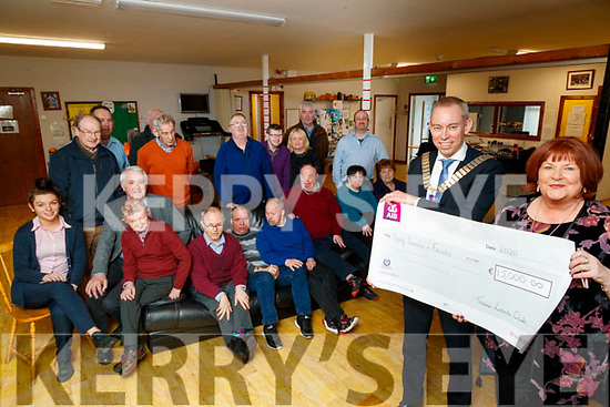 Sean Cooke (Tralee Lions Club) pictured presenting a cheque of €15,000 to Margaret Moore (Mount Eagle Lodge, Tralee) on Thursday, February 27th last, all funds raised are in aid of Kerry Parents and Friends to buy a new vehicle for Mount Eagle Lodge.