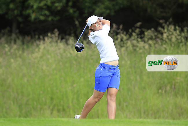 Charlotte Thomas on the 3rd tee during the Friday morning foursomes at the 2016 Curtis cup from Dun Laoghaire Golf Club, Ballyman Rd, Enniskerry, Co. Wicklow, Ireland. 10/06/2016.<br /> Picture Fran Caffrey / Golffile.ie<br /> <br /> All photo usage must carry mandatory copyright credit (&copy; Golffile | Fran Caffrey)