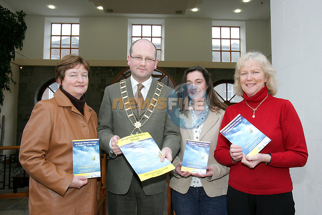 Mayor Ged Nash with Drogheda Womans refuge centre mambers Josie Branigan, Valerie Everard and Mary Smith..Photo NEWSFILE/FRAN CAFFREY..(Photo credit should read FRAN CAFFREY/NEWSFILE)...This Picture has been sent you under the condtions enclosed by:.Newsfile Ltd..the Studio,.Millmount Abbey,.Drogheda,.Co Meath..Ireland..Tel: +353(0)41-9871240.Fax: +353(0)41-9871260.GSM: +353(0)86-2500958.email: pictures@newsfile.ie.www.newsfile.ie.FTP: 193.120.102.198..This picture is from Fran Caffrey@newsfile.ie