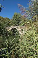 Espagne, Navarre, Pampelune: Pont de La Magdalena,  pont médiéval du XIIème siècle, sur la route vers Saint-Jacques-de-Compostelle pour les pèlerins //  Spain, Navarre, Pamplona:  Bridge of `La Magdalena' romanesque bridge Pamplona Navarra Spain Camino de Santiago.
