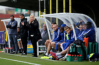 Chelsea Ladies Manager, Emma Hayes, encourages her team during Chelsea Ladies vs Liverpool Ladies, FA Women's Super League FA WSL1 Football at Kingsmeadow on 7th October 2017