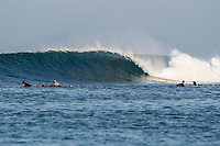 Nemberala Beach Resort, Rote, Indonesia. (Friday, September 1 2017) The surf was in the 5'-6' range this morning with larger sets on a long period swell from the southwest. Guests headed out  for a surf on first light . Some headed to T-Land while others headed to an uncrowded Sucky Mama's and the sessions lasted right through to low tide. The South East Trade winds  stayed light till late morning before strengthening but conditions stayed good all day. Photo: joliphotos