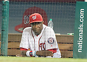 Washington Nationals manager Dusty Baker (12) watches fourth inning action from the dugout against the New York Mets at Nationals Park in Washington, D.C. on Tuesday, June 28, 2016.  The Nationals won the game 5 - 0.<br />