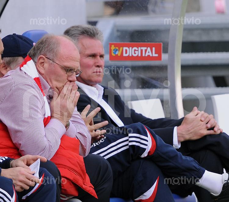 FUSSBALL   1. Bundesliga 2008/2009   33. Spieltag  16.05.2009 TSG 1899 Hoffenheim - FC Bayern Muenchen  Enttaeuschung FC Bayern, Manager Uli Honeness (li) und  Trainer Jupp Heynckes