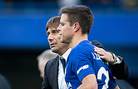 Chelsea manager Antonio Conte with Cesar Azpilicueta of Chelsea at full time during the Premier League match between Chelsea and Watford at Stamford Bridge, London, England on 21 October 2017. Photo by Andy Rowland.