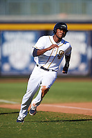 Peoria Javelinas Franchy Cordero (10), of the San Diego Padres organization, during a game against the Scottsdale Scorpions on October 22, 2016 at Peoria Stadium in Peoria, Arizona.  Peoria defeated Scottsdale 3-2.  (Mike Janes/Four Seam Images)