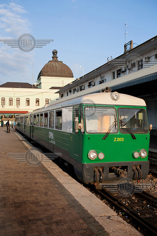 A train sits at a platform at Maputo railway station, built in 1908.