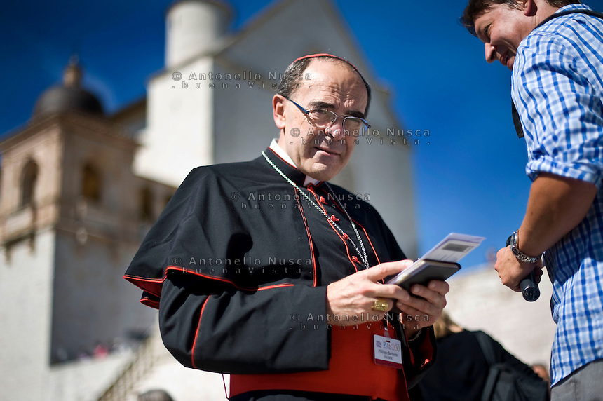 Assisi,Italy, September 20, 2016. Il Cardinale Philippe Xavier Ignace Barbarin. Cardinal Philippe Xavier Ignace Barbarin in front of the Basilica of St. Francis.