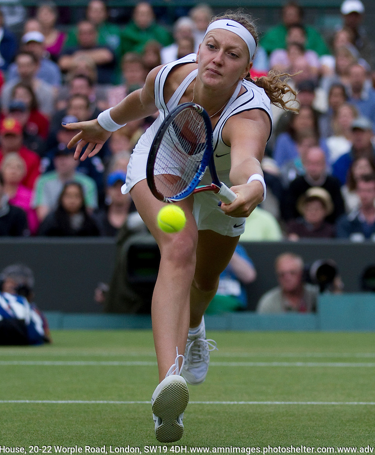 PETRA KVITOVA (CZE) (8) against TSVETANA PIRONKOVA (BUL) (32) in the Quarter Finals of the Ladies SIngles. Petra Kvitova beat Tsvetana Pironkova 6-3 6-7 6-2..Tennis - Grand Slam - Wimbledon - AELTC - London- Day 08 - Tue June 28th  2011..© AMN Images, Barry House, 20-22 Worple Road, London, SW19 4DH, UK..+44 208 947 0100.www.amnimages.photoshelter.com.www.advantagemedianetwork.com.
