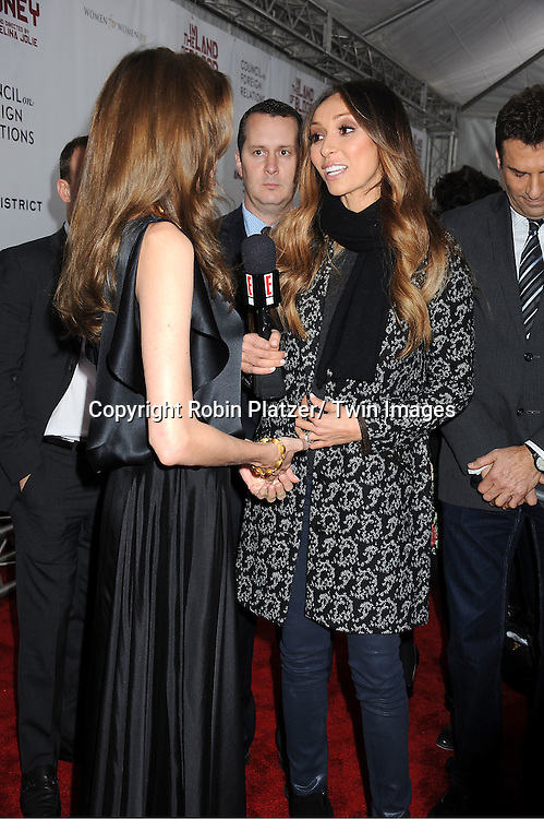 "Angelina Jolie and Juliana Rancic attends The New York Premiere of Angelina Jolie's movie "" In the Land of Blood and Honey"" on December 5, 2011 at The School of Visual Arts Theatre in New York City."