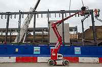 Construction works on the updating of The White Hart Lane overground station near to Tottenham Hotspur Stadium in White Hart Lane, London, England on 19 March 2019. Photo by Andy Rowland.