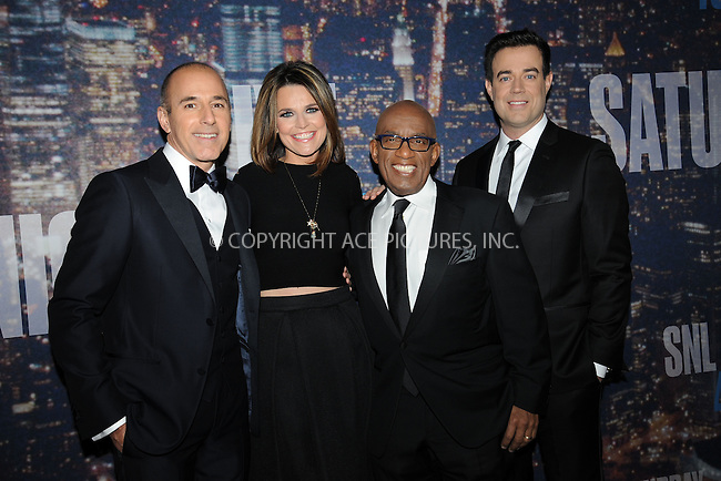 WWW.ACEPIXS.COM<br /> February 15, 2015 New York City<br /> <br /> Matt Lauer, Savannah Guthrie, Al Roker and Carson Daly walking the red carpet at the SNL 40th Anniversary Special at 30 Rockefeller Plaza on February 15, 2015 in New York City.<br /> <br /> Please byline: Kristin Callahan/AcePictures<br /> <br /> ACEPIXS.COM<br /> <br /> Tel: (646) 769 0430<br /> e-mail: info@acepixs.com<br /> web: http://www.acepixs.com