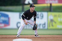 Kannapolis Intimidators third baseman Danny Mendick (1) on defense against the Augusta GreenJackets at Intimidators Stadium on May 30, 2016 in Kannapolis, North Carolina.  The GreenJackets defeated the Intimidators 5-3.  (Brian Westerholt/Four Seam Images)