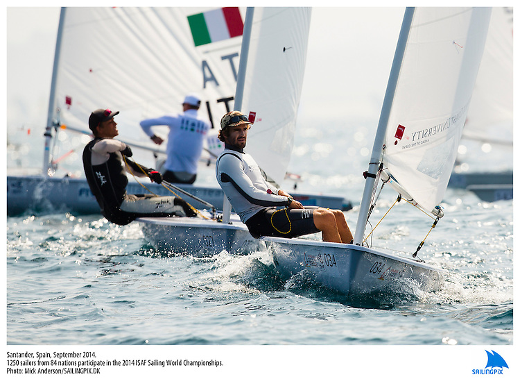 20140912, Santander, Spain: 2014 ISAF SAILING WORLD CHAMPIONSHIPS - More than 1,250 sailors in over 900 boats from 84 nations will compete at the Santander 2014 ISAF Sailing World Championships from 8-21 September 2014. The best sailing talent will be on show and as well as world titles being awarded across ten events 50% of Rio 2016 Olympic Sailing Competition places will be won based on results in Santander.. Photo: Mick Anderson/SAILINGPIX.DK. Keywords: Sailing, water, sport, ocean, boats, olympic, dinghy, dinghies, crew, team, sail. Filename: _49A2011.CR2.