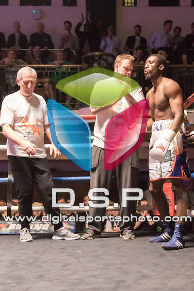 Kay Prosper VS James Doornan - Super Lightweight Contest. Photo by: Simon Downing.<br /> <br /> Goodwin Boxing: Paddy's Day Punch Up - Saturday 19th March 2016. York Hall, Bethnal Green, London, United Kingdom.