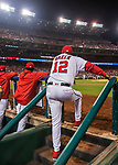 6 October 2017: Washington Nationals Manager Dusty Baker watches play from the steps of the dugout during the first game of the NLDS against the Chicago Cubs at Nationals Park in Washington, DC. The Cubs shut out the Nationals 3-0 to take a 1-0 lead in their best of five Postseason series. Mandatory Credit: Ed Wolfstein Photo *** RAW (NEF) Image File Available ***