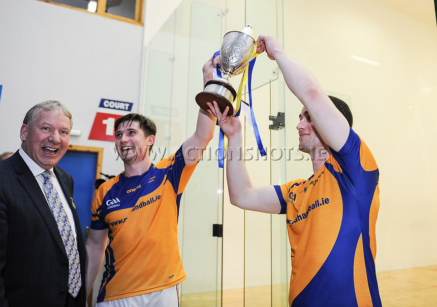 07/04/2018; GAA Handball O&rsquo;Neills 40x20 Championship Mens Senior Final - Cavan (Paul Brady/Michael Finnegan v Clare (Diarmuid Nash/Colin Crehan); Kingscourt, Co Cavan;<br /> Colin Crehan and Diarmuid Nash lift the cup.<br /> Photo Credit: actionshots.ie/Tommy Grealy