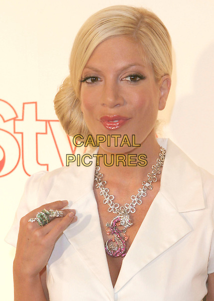 TORI SPELLING .Attends Life & Style Magazine Presents Stylemakers 2005 held at the Monmartre Lounge, Hollywood, California. USA, 26 May 2005. .portrait headshot white short sleeved jacket S necklace diamante ring jewellery.Ref: ADM.www.capitalpictures.com.sales@capitalpictures.com.©Zach Lipp /AdMedia/Capital Pictures.