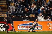 Jack McInerney (9) of the Philadelphia Union celebrates scoring. The Philadelphia Union defeated the Chicago Fire 1-0 during a Major League Soccer (MLS) match at PPL Park in Chester, PA, on May 18, 2013.