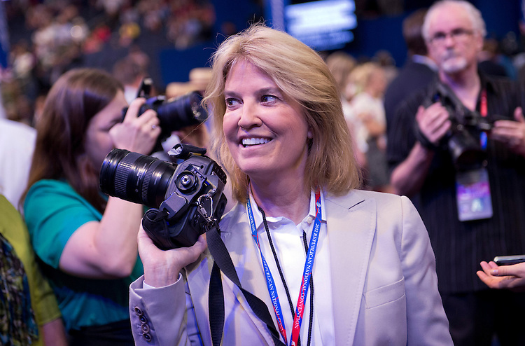 UNITED STATES - AUGUST 29:  Greta Van Susteren of Fox News roams the floor of on the Tampa Bay Times Forum on the night Rep. Paul Ryan, R-Wisc., republican vice-presidential nominee, addressed the Republican National Convention.  (Photo By Tom Williams/CQ Roll Call)