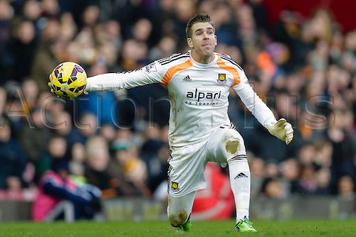 18.01.2015.  London, England. Barclays Premier League. West Ham versus Hull City.  West Ham United's Adrian in action