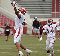 NWA Democrat-Gazette/ANDY SHUPE<br /> Arkansas receiver Koilan Jackson (3) makes a one-handed catch Saturday, April 6, 2019, during the Razorbacks' spring game in Razorback Stadium in Fayetteville. Visit nwadg.com/photos to see more photographs from the game.