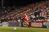 Western New York Flash midfielder Sarah Huffman (14). The Portland Thorns defeated the Western New York Flash 2-0 during the National Women's Soccer League (NWSL) finals at Sahlen's Stadium in Rochester, NY, on August 31, 2013.