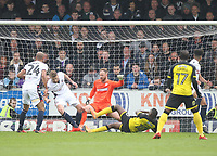 Burton Albion's Lucas Atkins scores his sides second goal  beating Bolton Wanderers Ben Alnwick<br /> <br /> Photographer Mick Walker/CameraSport<br /> <br /> The EFL Sky Bet Championship - Burton Albion v Bolton Wanderers - Saturday 28th April 2018 - Pirelli Stadium - Burton upon Trent<br /> <br /> World Copyright &copy; 2018 CameraSport. All rights reserved. 43 Linden Ave. Countesthorpe. Leicester. England. LE8 5PG - Tel: +44 (0) 116 277 4147 - admin@camerasport.com - www.camerasport.com