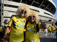 SAO PAULO – BRASIL, 19-06-2019:Hinchas de Colombia antes del partido de la Copa América Brasil 2019, grupo B, entre Colombia y Catar jugado en el Estadio Morumbí de Sao Paulo, Brasil. / Fans of Colombia before match of the Copa America Brazil 2019 group B match between Colombia and Qatar played at Morumbi stadium in Sao Paulo, Brazil Photos: VizzorImage / Julian Medina / Contribuidor