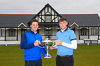 Robert Brazill (Naas) right winner of the 2018 West of Ireland pictured with Alex Gleeson (Castle) Runner-up, in Co Sligo Golf Club, Rosses Point, Sligo, Co Sligo, Ireland. 03/04/2018.<br /> Picture: Golffile | Fran Caffrey<br /> <br /> <br /> All photo usage must carry mandatory copyright credit (&copy; Golffile | Fran Caffrey)
