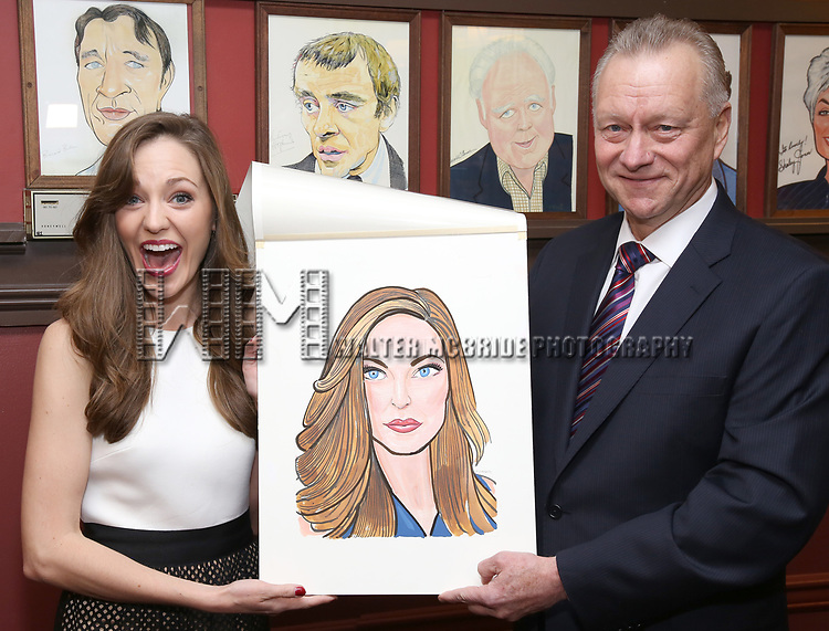 Laura Osnes and Max Klimavicius attends the Laura Osnes Sardi's Portrait Unveiling at Sardi's on May 12, 2017 in New York City.