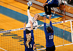 BROOKINGS, SD - SEPTEMBER 1: Makenzie Hennen #3 from South Dakota State University tries to get a kill past Haylee Roberts #11 and Briannah Mariner #10 from CSU Bakersfield during their match Friday night at the Jackrabbit Invitational at Frost Arena in Brookings. (Photo by Dave Eggen/Inertia) (Photo by Dave Eggen/Inertia)
