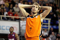 Mad-Croc Fuenlabrada's Javier Vega dejected during Liga Endesa ACB match.November 18,2012. (ALTERPHOTOS/Acero) NortePhoto