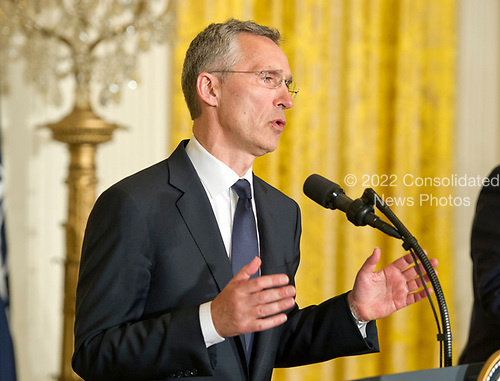 Secretary General Jens Stoltenberg of NATO makes remarks as he and United States President Donald J. Trump conduct a joint press conference in the East Room of the White House in Washington, DC on Wednesday, April 12, 2017.<br /> Credit: Ron Sachs / CNP